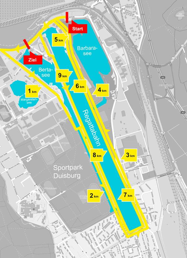 Duisburg Lichterlauf-Strecke 10 km