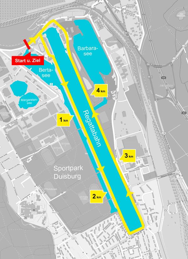 Duisburg Lichterlauf-Strecke 5 km